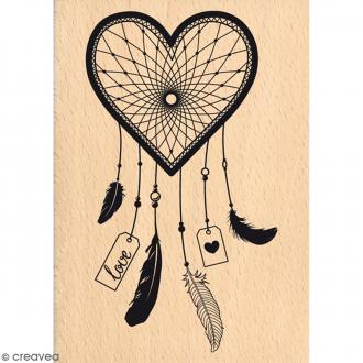 Tampon bois Attrape-rêves d'amour - 7 x 10 cm