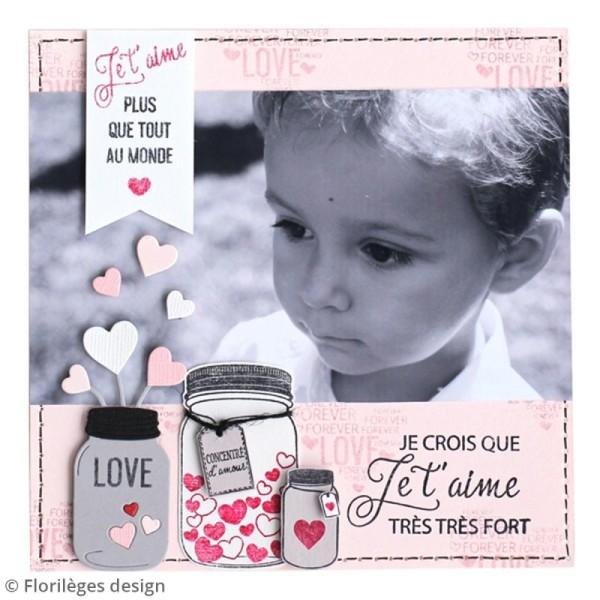 Tampon bois Petits pots d'amour - 7 x 4 cm - Photo n°2