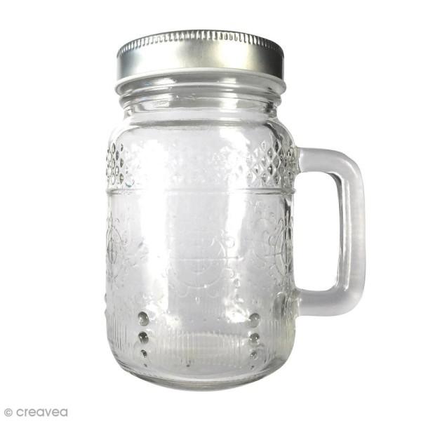 Bocal Mason Jar en verre avec poignée et couvercle - Arabesques - 370 ml - Photo n°1