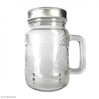 Bocal Mason Jar en verre avec poignée et couvercle - Arabesques - 370 ml