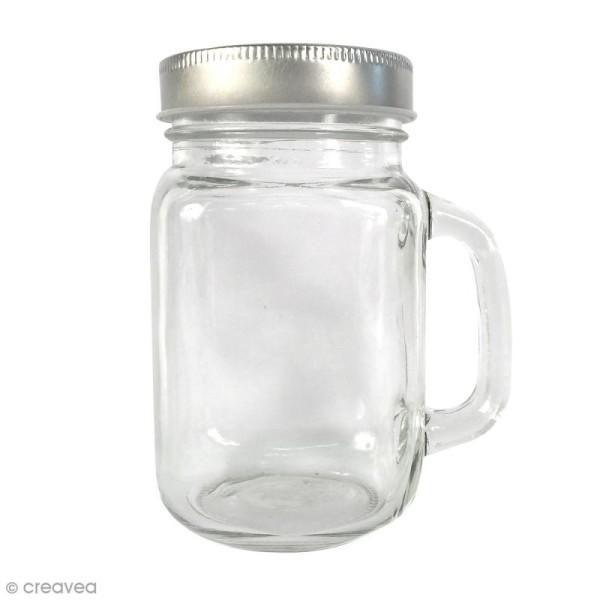 Bocal Mason Jar en verre avec poignée et couvercle - Classique - 370 ml - Photo n°1