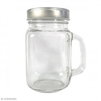 Bocal Mason Jar en verre avec poignée et couvercle - Classique - 370 ml