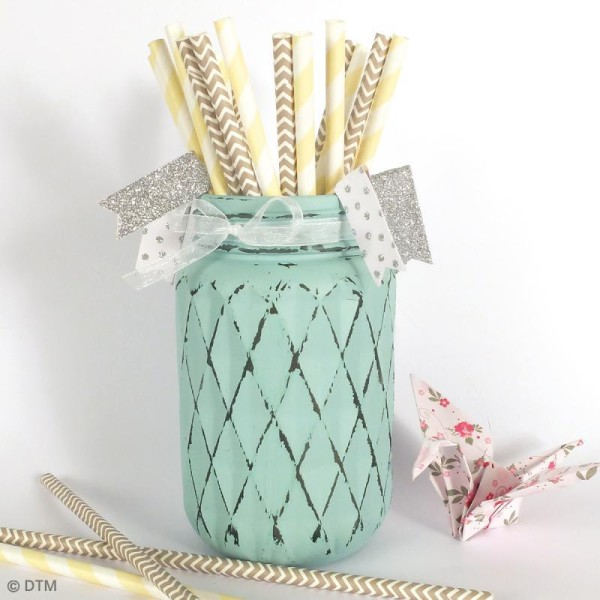 Bocal Mason Jar en verre avec couvercle - Diamant - 375 ml - Photo n°3