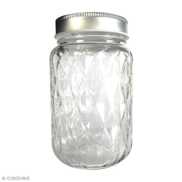 Bocal Mason Jar en verre avec couvercle - Diamant - 375 ml - Photo n°1