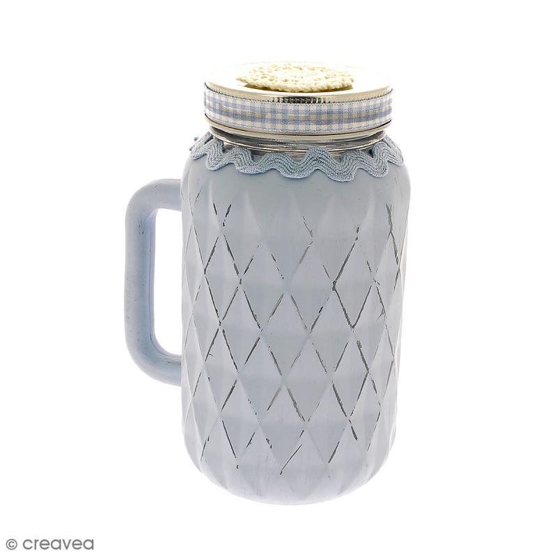 Bocal Mason Jar en verre avec poignée et couvercle - Diamant - 490 ml - Photo n°2