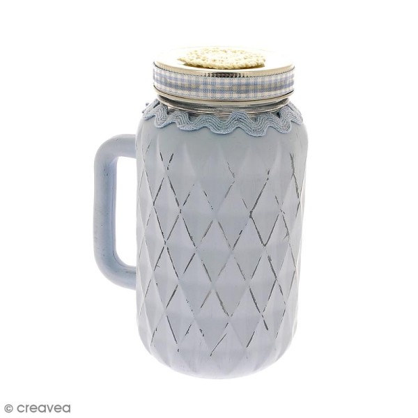 bocal mason jar en verre avec poign e et couvercle. Black Bedroom Furniture Sets. Home Design Ideas