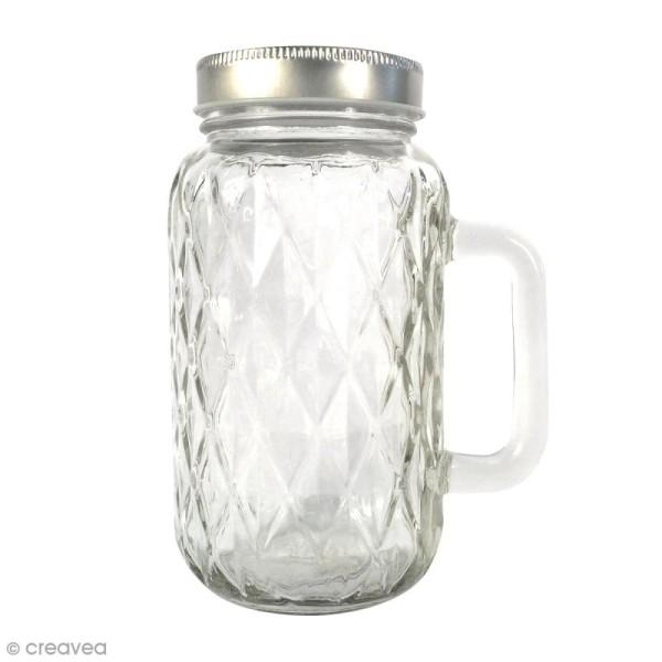Bocal Mason Jar en verre avec poignée et couvercle - Diamant - 490 ml - Photo n°1