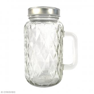 Bocal Mason Jar en verre avec poignée et couvercle - Diamant - 490 ml