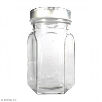 Bocal Mason Jar en verre avec couvercle - Hexagonal - 240 ml