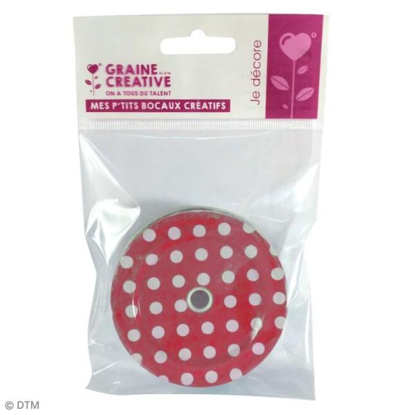 Couvercle Rouge à trou pour Mason Jar - Pois blanc - Photo n°2