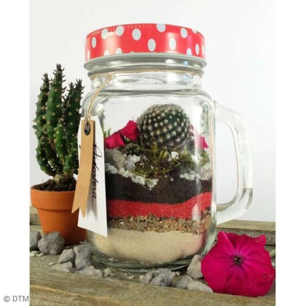 Couvercle Rouge à trou pour Mason Jar - Pois blanc - Photo n°3