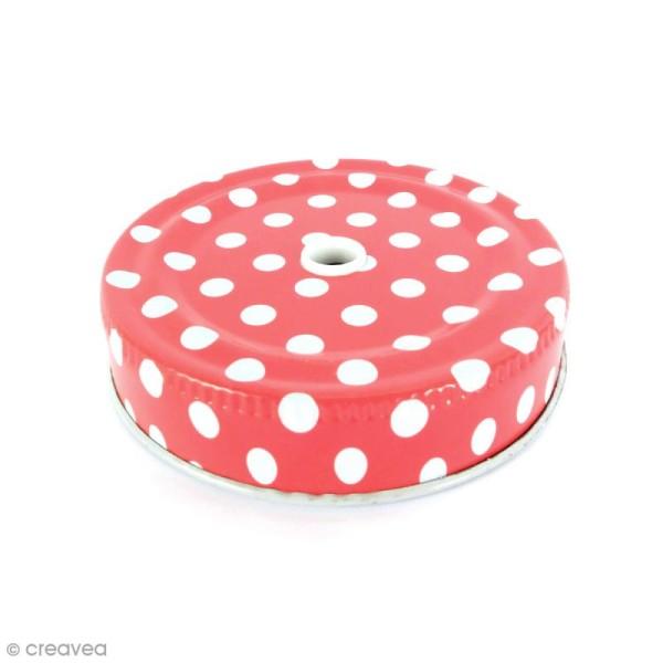 Couvercle Rouge à trou pour Mason Jar - Pois blanc - Photo n°1