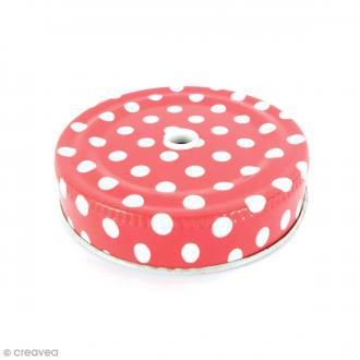 Couvercle Rouge à trou pour Mason Jar - Pois blanc