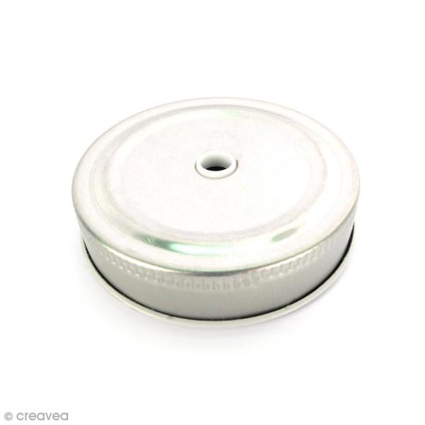 Couvercle Argenté à trou pour Mason Jar - Pois blanc - Photo n°1
