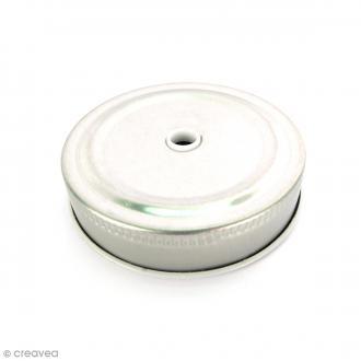Couvercle Argenté à trou pour Mason Jar - Pois blanc