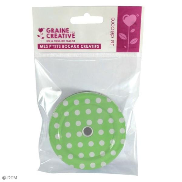 Couvercle Vert à trou pour Mason Jar - Pois blanc - Photo n°2