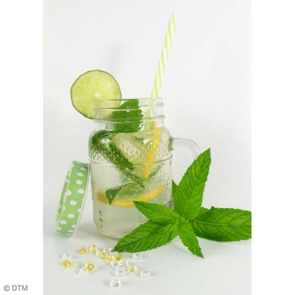 Couvercle Vert à trou pour Mason Jar - Pois blanc - Photo n°3