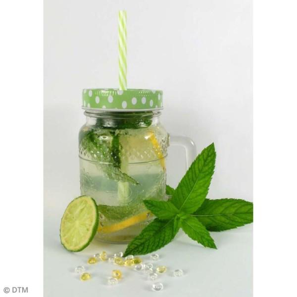 Couvercle Vert à trou pour Mason Jar - Pois blanc - Photo n°4