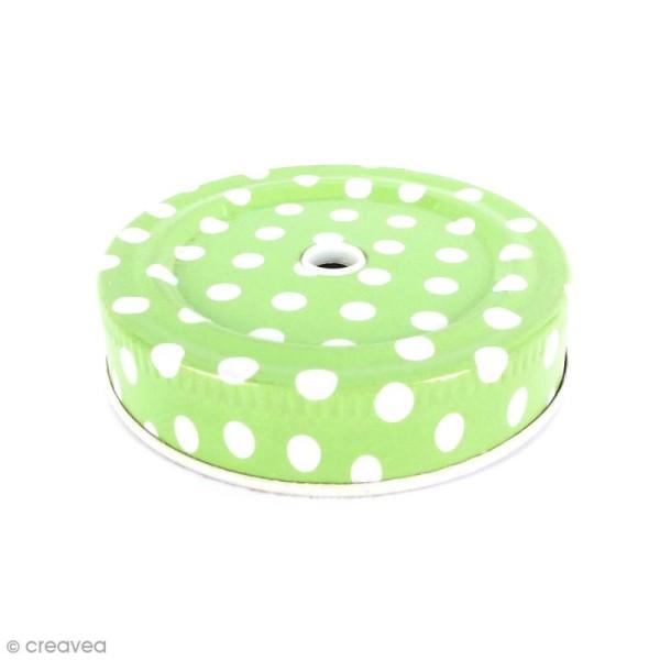 Couvercle Vert à trou pour Mason Jar - Pois blanc - Photo n°1