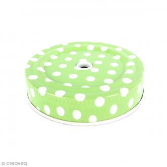 Couvercle Vert à trou pour Mason Jar - Pois blanc