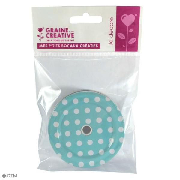 Couvercle Bleu à trou pour Mason Jar - Pois blanc - Photo n°2
