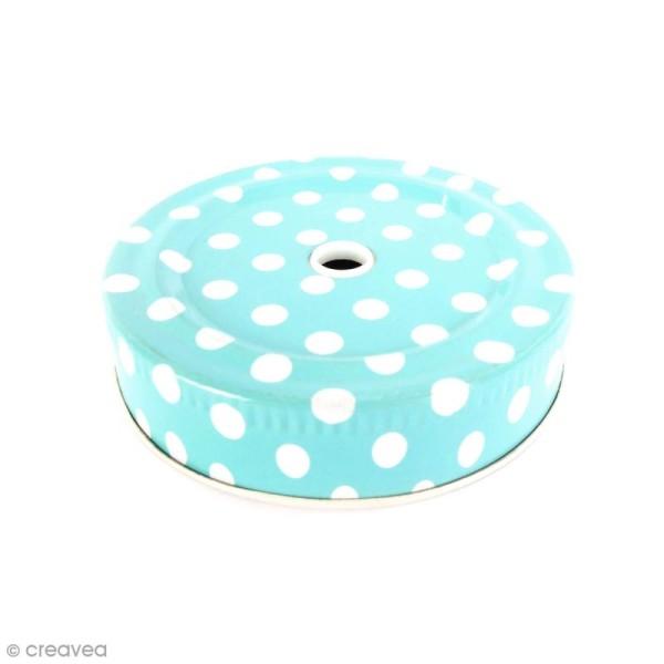 Couvercle Bleu à trou pour Mason Jar - Pois blanc - Photo n°1