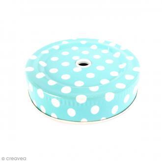 Couvercle Bleu à trou pour Mason Jar - Pois blanc