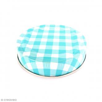 Couvercle Bleu pour Mason Jar - Vichy