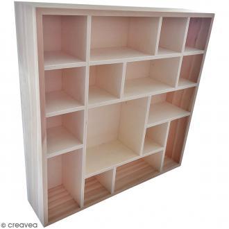 Vitrine en bois à décorer - 35 x 35 x 8 cm - 16 cases
