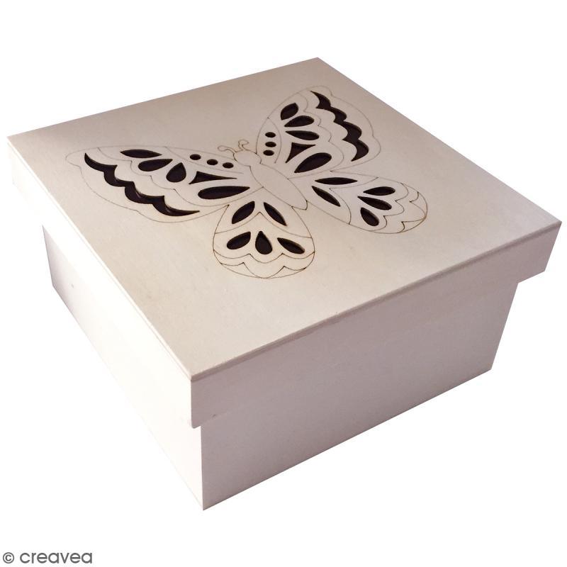 Bo te carr e en bois avec couvercle papillon 14 5 cm boite en bois d corer creavea - Boite en carton a decorer ...