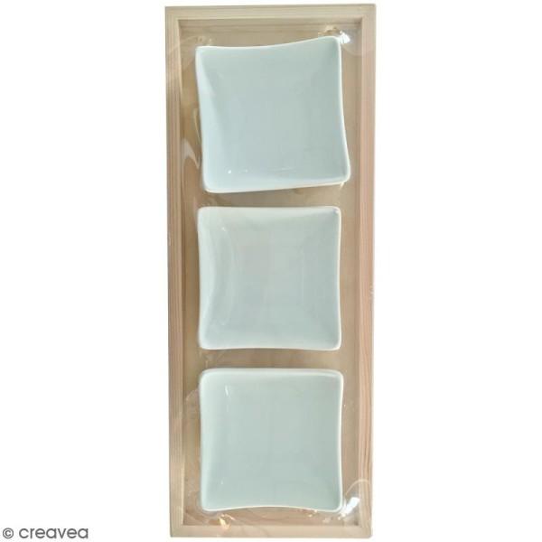 Plateau apéro en bois à décorer - 29,5 x 11,5 x 4 cm - Avec 3 coupelles céramique - Photo n°1