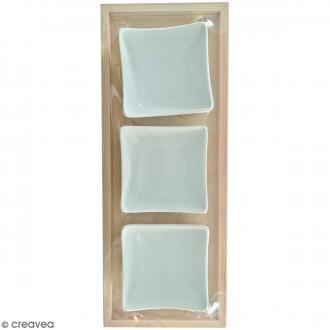 Plateau apéro en bois à décorer - 29,5 x 11,5 x 4 cm - Avec 3 coupelles céramique