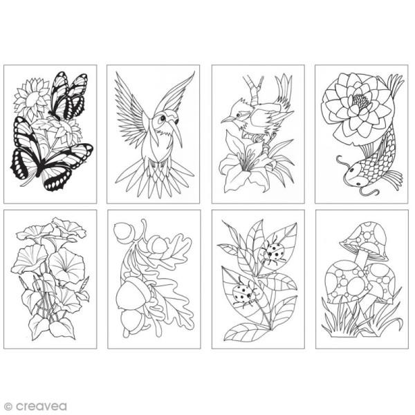 Cartes à colorier pour marqueurs Chameleon - Nature - 16 pcs - Photo n°3