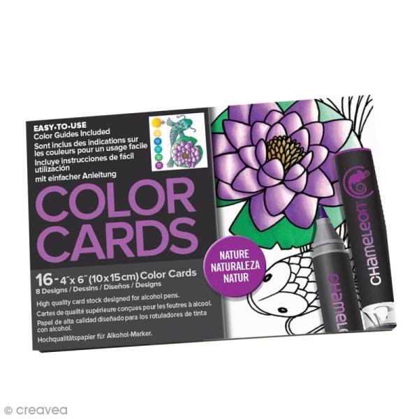 Cartes à colorier pour marqueurs Chameleon - Nature - 16 pcs - Photo n°1