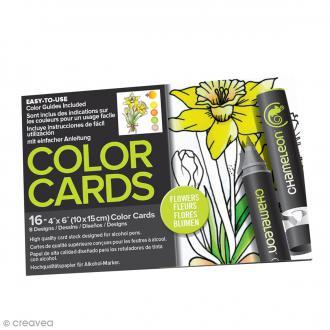 Cartes à colorier pour marqueurs Chameleon - Fleurs - 16 pcs