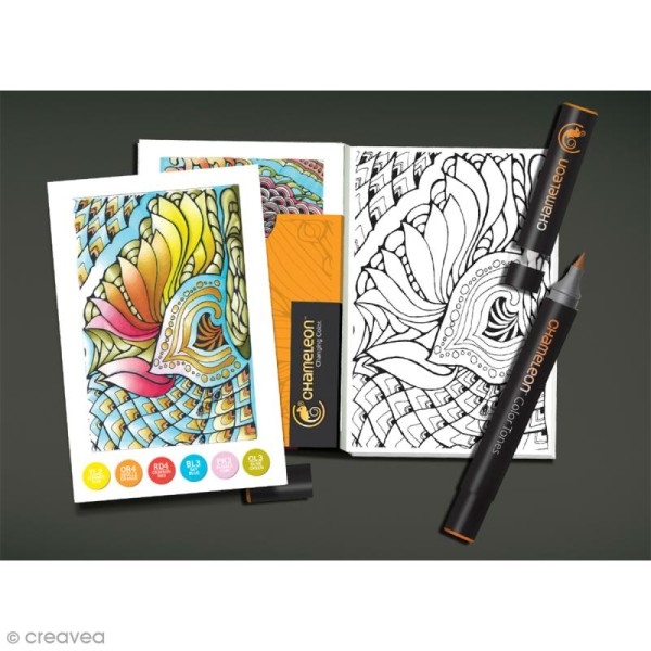 Cartes à colorier pour marqueurs Chameleon - Zen - 16 pcs - Photo n°2