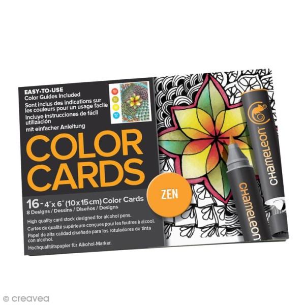 Cartes à colorier pour marqueurs Chameleon - Zen - 16 pcs - Photo n°1