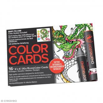 Cartes à colorier pour marqueurs Chameleon - Tattoo - 16 pcs