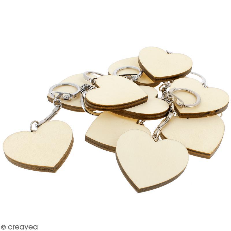 Portes Clés Coeur en bois à décorer - 10 pcs - Photo n°5