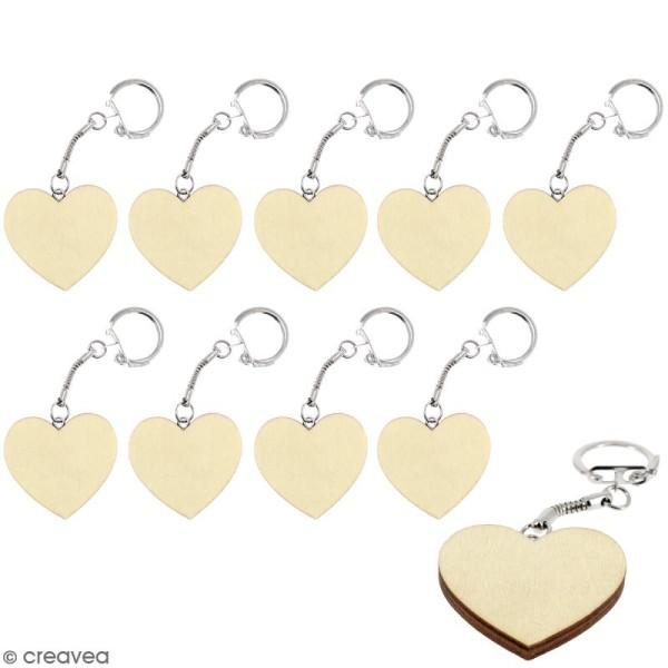 Portes Clés Coeur en bois à décorer - 10 pcs - Photo n°1