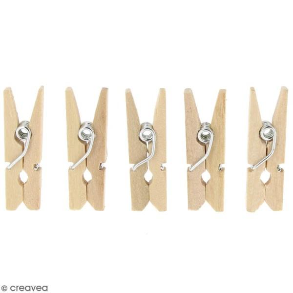 Mini pinces à linge en Bois brut - 2,5 cm - 400 pcs - Photo n°4