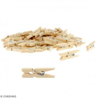 Mini pinces à linge en Bois brut - 2,5 cm - 400 pcs