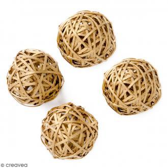 Boule rotin 4 cm - Doré - 4 pcs