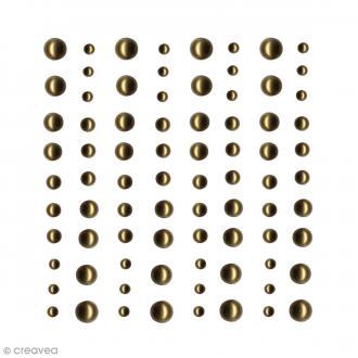 Demi-perles adhésives Dorées - 80 pcs