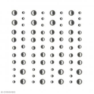 Demi-perles adhésives Grises argentées - 80 pcs