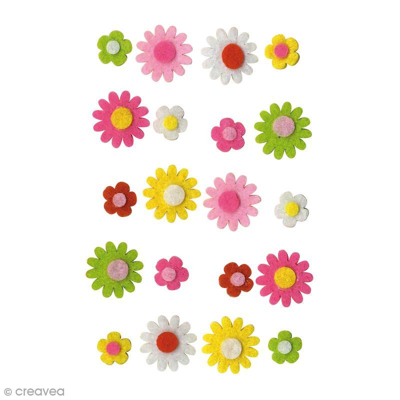Forme en feutrine Décoration - Fleurs marguerites - 20 pcs - Photo n°1