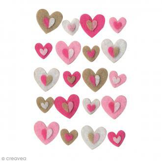 Forme en feutrine Décoration - Coeurs - 20 pcs