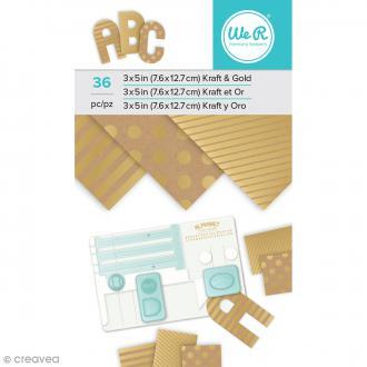Bloc de papiers kraft Motifs métalliques dorés - 7,6 x 12,7 cm - 36 pcs