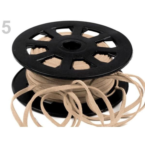 30m 5 Lightbeige Plate en simili-Cuir Cordon Largeur 3mm, Cordes Matériel, des Perles - Photo n°1