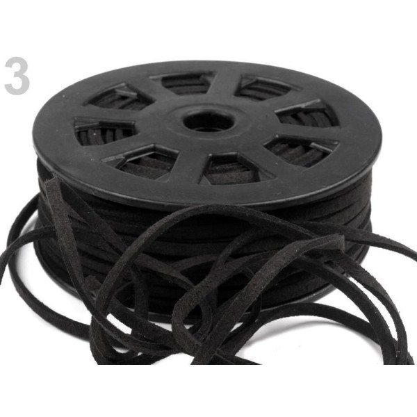30m 3 Black Plate en simili-Cuir Cordon Largeur 3mm, Cordes Matériel, des Perles - Photo n°1